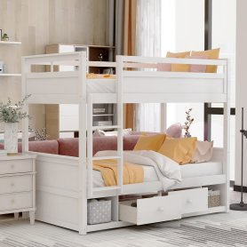 Twin over twin bunk bed, with two drawers and two storage, white 1