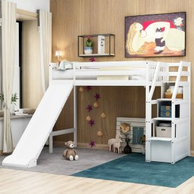 Twin size loft bed with storage and slide, white 1