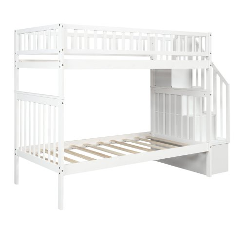 Twin over Twin Bunk Bed, with Trundle and Storage 9