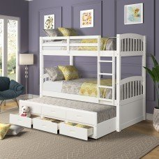 Twin over Twin Wood Bunk Bed with Trundle and Drawers 1