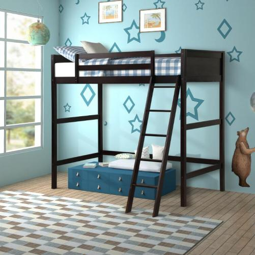 Solid Wood Twin Size Loft Bed Panel Style Loft Bed,Side Angled Ladder 2