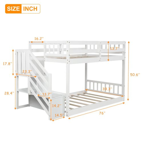 Twin over twin Floor Bunk Bed, Ladder with Storage 3