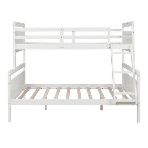 Twin over full bunk bed with ladder, safety guardrail, perfect for kids bedroom, white