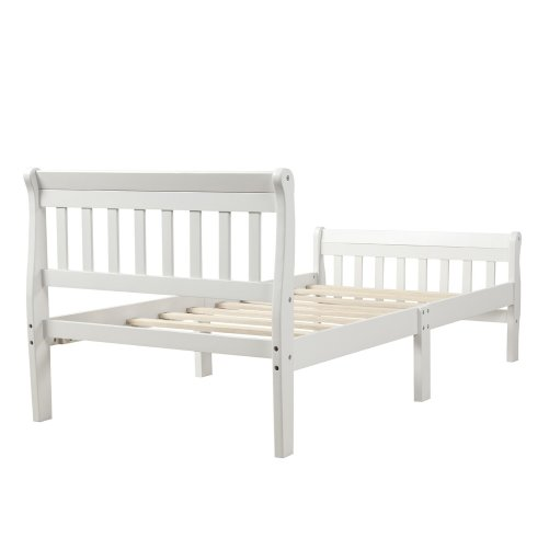 Wood Platform Bed Twin Bed Frame Panel Bed Mattress Foundation Sleigh Bed With Headboard/footboard/wood Slat Support