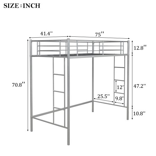 Twin Loft Bed With Sturdy Steel Frame, Guard Rail, Two-side Ladders 4