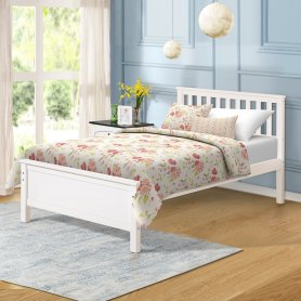 Wood Platform Bed With Headboard/footboard/wood Slat Support/no Box Spring Needed Twin White