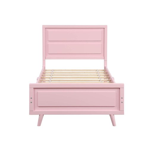 Wood Platform Bed Twin Bed Frame Mattress Foundation With Headboard And Wood Slat Support Pink