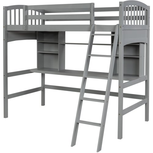 Twin Size Loft Bed With Storage Shelves, Desk And Ladder, Gray