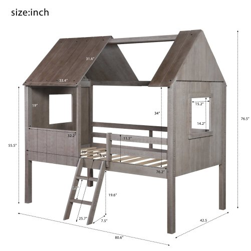 Twin Size Low Loft Wood House Bed With Two Side Windows