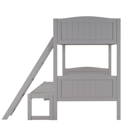 Twin Over Twin/Full Convertible Bunk Bed With Ladder, Removable Extra Platform