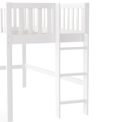 Twin Size Low Loft Bed With Ladder And Slide