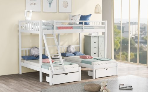 Full Over Twin Bunk Bed, Wood Triple Bunk Bed With Drawers And Guardrails