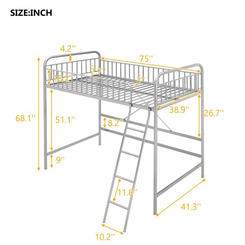 Twin Loft Bed With Full-length Guardrail And Ladder