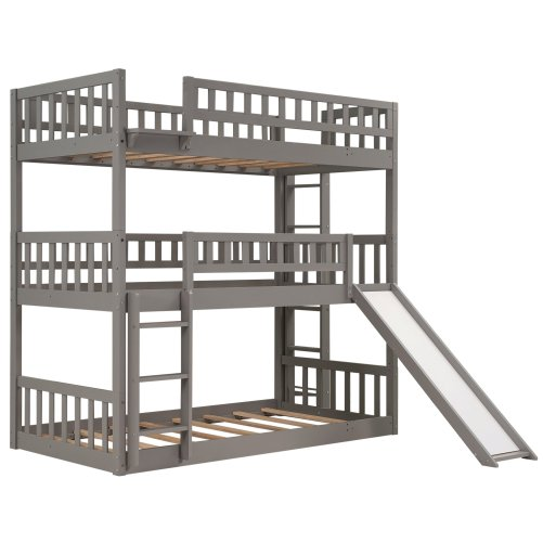 Twin-over-Twin-over-Twin Triple Bunk Bed With Built-in Ladder, Slide, Guardrails