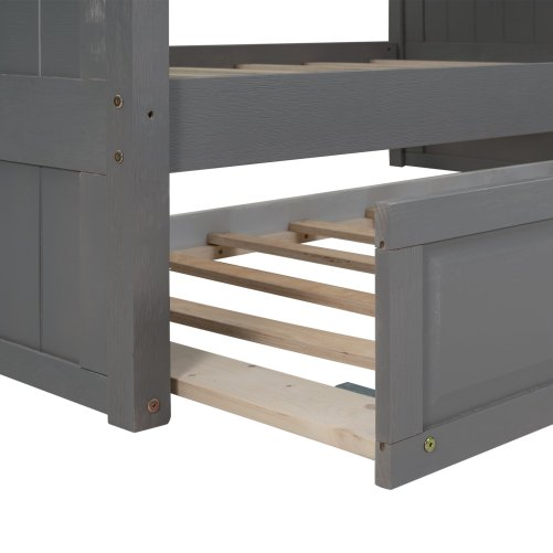 Full Over Full Bunk Bed With Twin Size Trundle, Pine Wood Bunk Bed With Guardrails For Kids And Teens, Brushed Gray