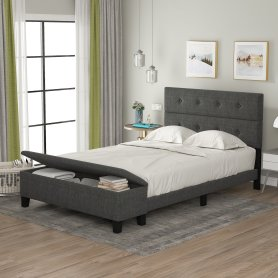 Upholstered Full Size Platform Bed with Storage Case