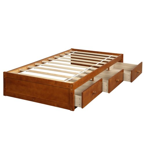 Twin Size Platform Storage Bed With 3 Drawers