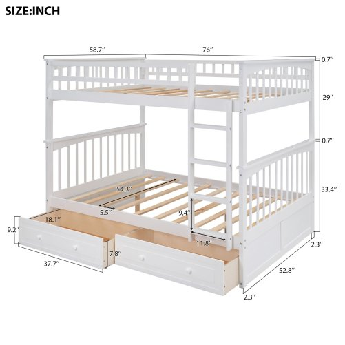 Full Over Full Bunk Bed With Drawers, Convertible Beds