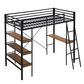 Metal Twin Loft Bed With Shelves And Desk