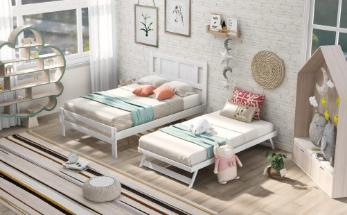 Full Size Platform Bed With Adjustable Trundle