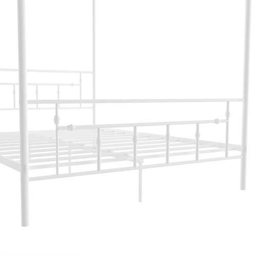 Queen Size Metal Canopy Bed With Headboard, White