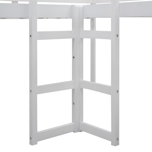 L-Shaped Loft Bed With Ladders And Slide