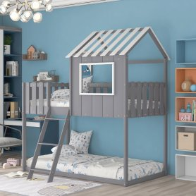 Bunk House Bed With Rustic Fence-Shaped Guardrail, Twin Size