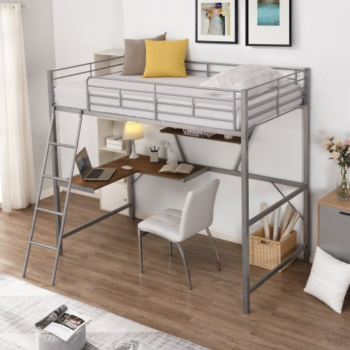 Metal Loft Bed With L-Shaped Desk And Shelf 1