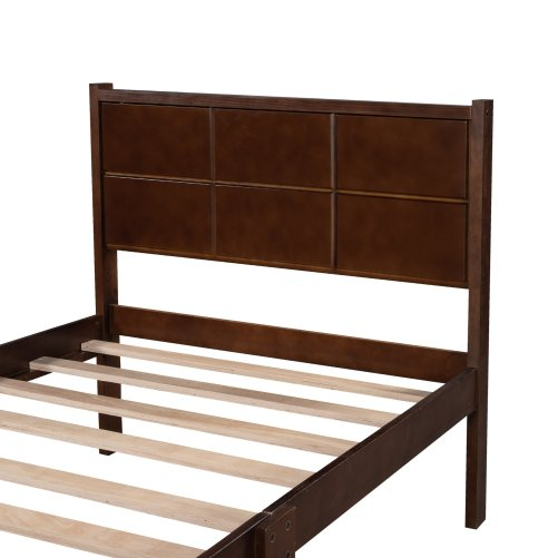 Twin Size Platform Bed Frame With Rectangular Line Shape Headboard And Footboard