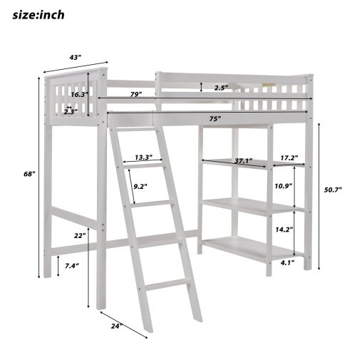 Twin Size Loft Bed With Storage Shelves