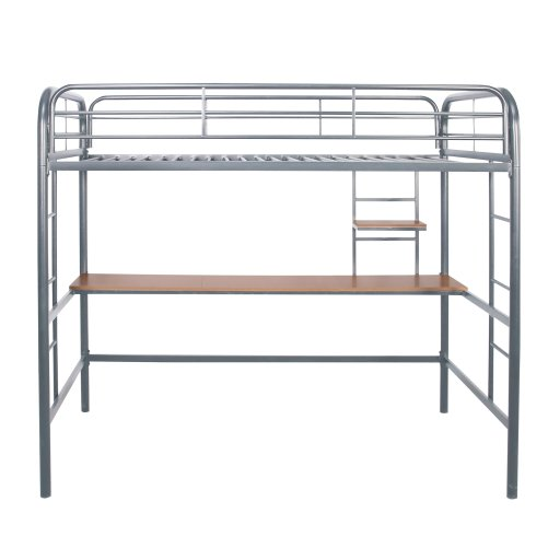 Twin Metal Loft Bed With Desk And Shelves