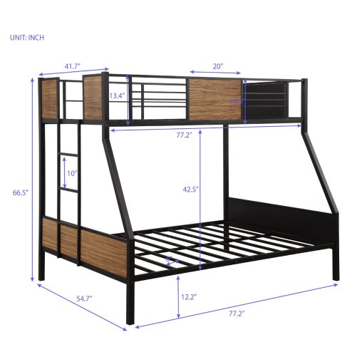 Twin-over-full bunk bed modern style steel frame bunk bed with safety rail, built-in ladder for bedroom, dorm, boys, girls, adults 7