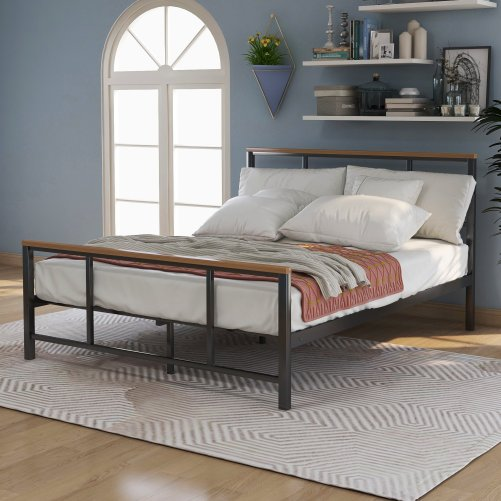 Metal bed with wood decoration(Queen size) 4
