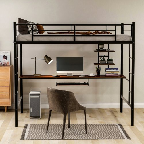 Loft bed with Dsek and Shelf , Space Saving Design 7