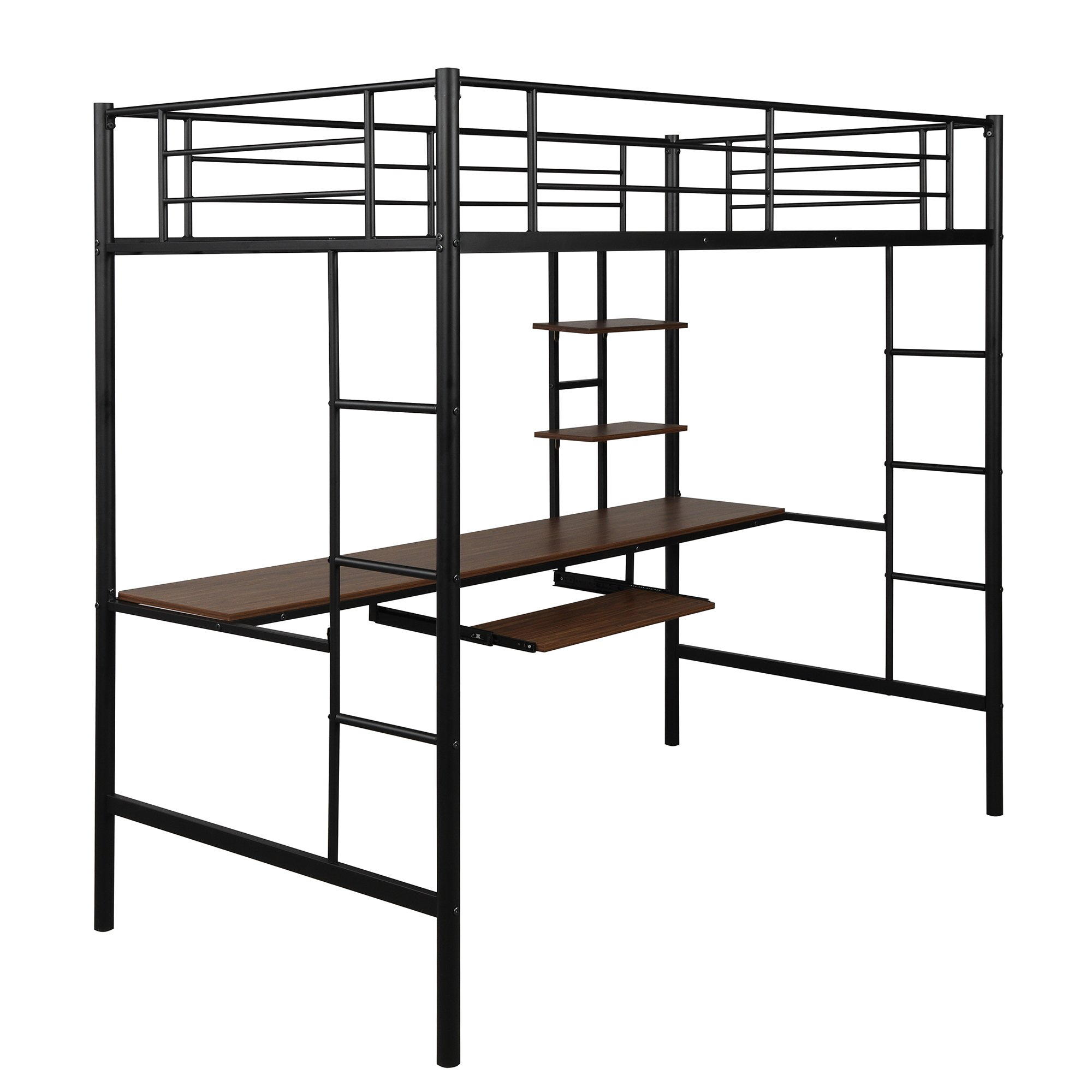 Loft Bed With Dsek And Shelf Space Saving Design