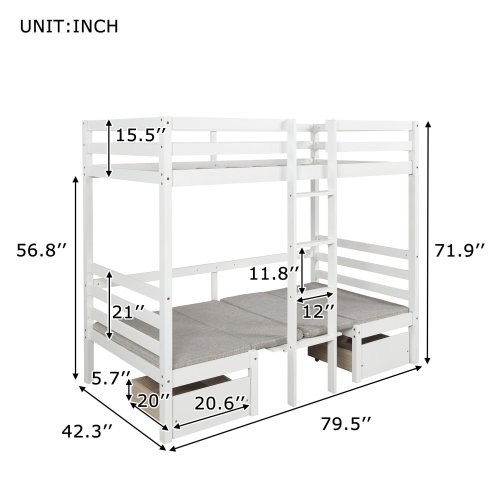 Functional Bunk bed , twin size 21
