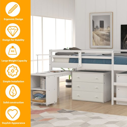 Low Study Twin Loft Bed with Cabinet and Rolling Portable Desk 1