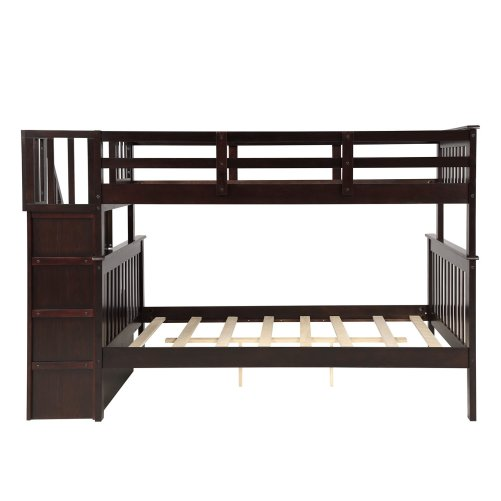 Stairway Twin-Over-Full Bunk Bed with Storage and Guard Rail 30