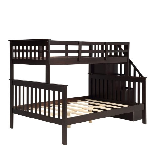 Stairway Twin-Over-Full Bunk Bed with Storage and Guard Rail 24