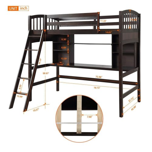 Twin size Loft Bed with Storage Shelves, Desk and Ladder 12