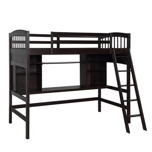 Twin size Loft Bed with Storage Shelves, Desk and Ladder 6