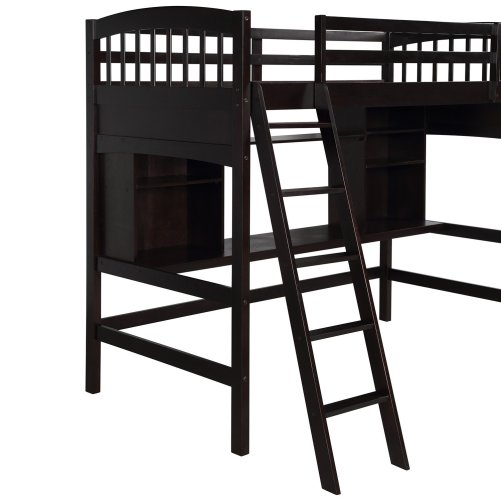 Twin size Loft Bed with Storage Shelves, Desk and Ladder 4