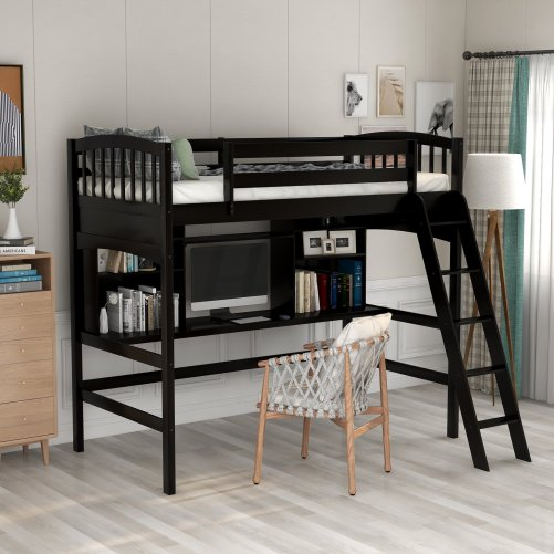 Twin size Loft Bed with Storage Shelves, Desk and Ladder 8