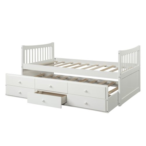 Bed with Trundle and 3 Storage Drawers 15