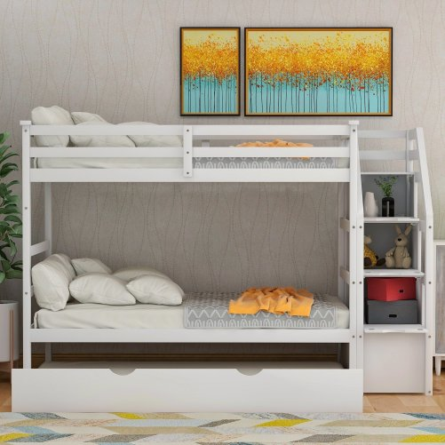 Twin-Over-Twin Trundle Bunk Bed with 4 Storage Drwers 15