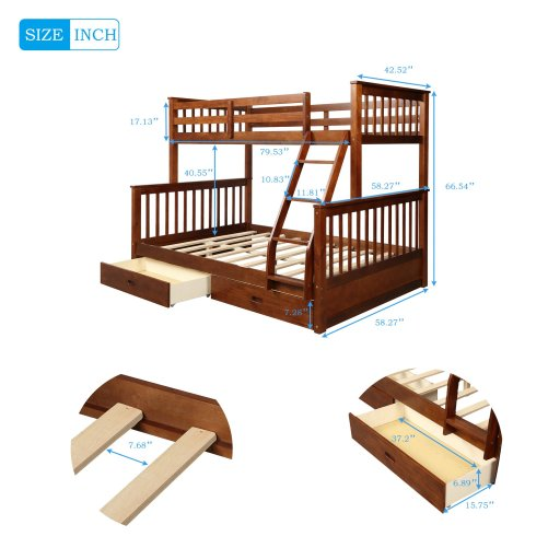 Twin-Over-Full Bunk Bed with Ladders and Two Drawers 5