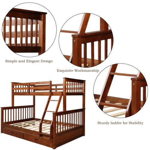 Twin-Over-Full Bunk Bed with Ladders and Two Drawers 11