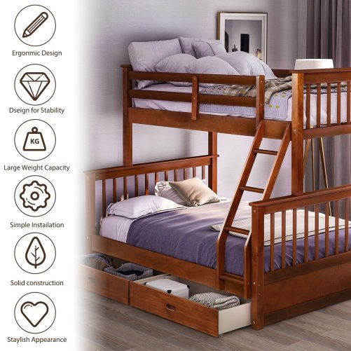 Twin-Over-Full Bunk Bed with Ladders and Two Drawers 1