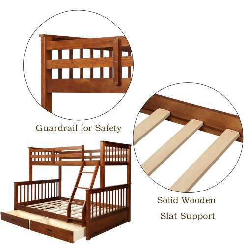 Twin-Over-Full Bunk Bed with Ladders and Two Drawers 3