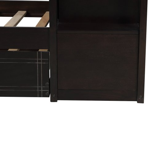 Solid Wood Bunk Bed for Kids, Hardwood Twin Over Twin Bunk Bed with Trundle and Staircase 6